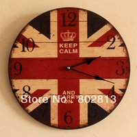 antique clocks uk - British Style Fashion Antique UK Flag Wall Clock Wooden Arabic numeral Home Decoration