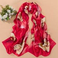 Wholesale 2015 New Women s Scarf Emulation Silk Scarfs Four Season Boutique Scarves Fashion Long Shawls For Elegant Woman Flower Printed Cape colors