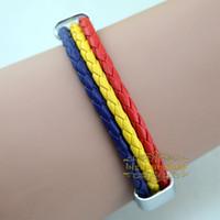 Wholesale High qulity Romania national flag leather bracelet Casual Sport bracelet amp bangle