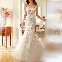 Wholesale Hot New Dreamy Design Wedding Dresses Lace Mermaid Bridal Gowns Scoop Tank See Through Back Vestido de Festa Longo