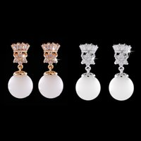 Wholesale Golden and Silver Crown Shape Diamond Inlaid Shiny Earring Women Jewelry Accessories For Women