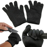 Wholesale Black Stainless Steel Wire Safety Works Anti Slash Cut Resistance Gloves order lt no track