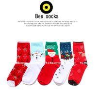 Wholesale Hign quality Cotton Winter Socks Stretdny Christmas Adults woman Sock Santa Claus Snowflake Sockings mix styles
