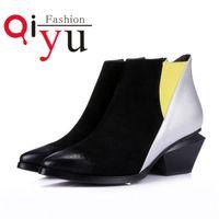 Cores do outono / inverno cheio de grãos de couro Ankle Boots Tamanho 34 39 botas pretas estilo curto Mulheres Rua Apontado Toe Heel Shoes Med Mixed