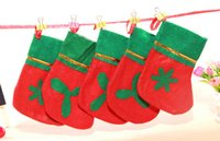 Wholesale MOQ Christmas socks Non woven Christmas stockings Green mouth applique stocking red and green Gifts socks