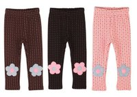 Wholesale new autumn winter childrens babys girls woollen Crown floral warm leggings
