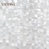 Wholesale Canossa natural shell white close fight mosaic tile wall stickers TV backdrop Materials