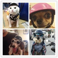 Wholesale Free shippping Biker hat Pets Helmets Ridding Cap ABS Doggie Puppy Motorcycle Protect for Sports Dog cat Costumes Accessories10pcs