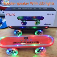 Wholesale 2015 Newest Christmas gift Skateboard Bluetooth Wireless scooter Speaker Mobile Audio Mini Portable Speakers with Led Light