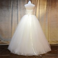 Wholesale A Line Pretty Wedding Dresses Strapless Sleeveless Trendy Satin Wedding Gowns with Handcraft Beading Sexy Wedding Dress