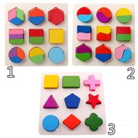 Wholesale montessori Baby Kids Early childhood educational Wooden shape color D three dimensional jigsaw puzzle children building blocks toys
