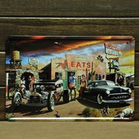 Wholesale Motel Eats Bar Car Motorcycle Sexy Lady Dog Metal Tin Sign Wall Poster Decor antique auto signs