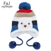 baby earflap hat knitting pattern - 3pcs Colorful Stripe Pattern Cartoon Bear Design Wool Blended Knitting Kids Winter Caps Baby Warm Earflap Hats