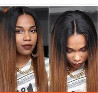 Cheap Best selling 100% brazilian hair full lace wig Remy Human hair straight two tone ombre 1B 4# Front lace wig for black women With Baby Hair
