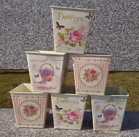 Wholesale Pure garden bucket tin box Iron pots flower METAL Antique vantage design