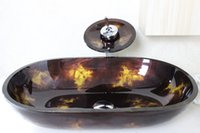 Wholesale Red Fire Hand Painted Oval Tempered Glass Vessel Sink With Waterfull Faucet Set N