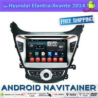al por mayor elantra dvd-Estéreo en 2 Din Car Multimedia central del coche reproductor de DVD para Hyundai Elantra Avante 2014 Radio FM Bluetooth 4.4 Android de cuatro núcleos