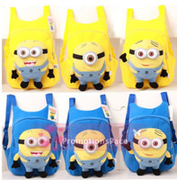 Wholesale YellowMYF53 fashion cute despicable me toddler baby boys girls backpack children pp plush minions toy school bag kids backpacks good quality