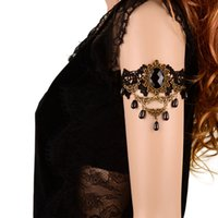 armband jewellery - Copper Black Arm Bracelet Flower Alloy Armlet Beads Arm Bangle Armband Jewellery