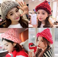 Cheap 2015 new girl crochet hand knitted hat kids girls baby handmade hat knitting cap winter hat fedex DHL free shipping