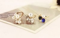 Wholesale New Exquisite Cute Retro Queen Dragonfly Design Rhinestone Plum Pearls Girl Fashion Party Gold Silver Ring Finger Nail Rings