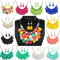 Wholesale New Bohemian Jewelry Set Choker Necklace Chain Dangle Earrings Gem Elegant Waterdrop Teardrop Bubble Bib Statement Colors