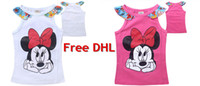 Cheap Hot Kids Summer T-shirt Cute Cartoon Minnie Sleeveless Top Tees Baby Girls Floral Vest Tshirt Kids Clothing Wholesale For 3-10yr