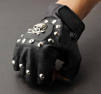 al por mayor guantes punk-Hombres de cuero real cráneo punk rocker conducción moto motociclista dedos guantes