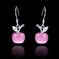 Wholesale Brazilian Virgin Hair Promotion Sale Earing Dangle Earring Crystal Wedding Fashion Silver Women Bridal Pink Earrings Christmas Gift