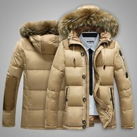 Wholesale Fall Mens Parka Parker Padded Lined Winter Jacket Fur Collar Hooded Down Coat Outwear