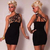Wholesale One Shoulder Short Dress Club Nightclubs Women Sexy Lingerie Package Hip Evening Dress