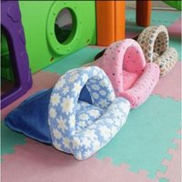 Wholesale Cute Printing Coral Cashmere Semicircle Tent Warm Sleeping Bag pet Bed Cat Dog