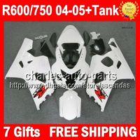 body kit - 7gifts Tank For SUZUKI GSXR600 GSXR Stock white K4 GSXR750 Body R750 GSX R600 Gloss white Fairings Kit