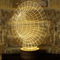 Wholesale Novelty D Optical Illusion LED Table Lamp Lighting With Wood Base desk lamp night light best gift mm thick