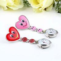 Wholesale 20pcs New Heart Shape Cute Smile Face Nurse Quartz Pocket Watch Pin Brooch Portable Mark s store