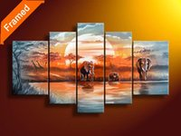 oil painting gallery - African style oil painting five panels gallery wrapped ready to hang modern abstract landscape oil paintings for wall