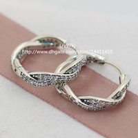 Wholesale 100 High quality Sterling Silver Twist of Fate with Clear CZ Hoop Earrings Fits European Pandora Jewelry Ring