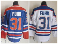 Wholesale Cheap Edmonton Hockey Jerseys Throwback Grant Fuhr Jersey Team Color Blue White Vintage Grant Fuhr Jerseys Embroidered Logo