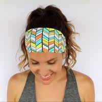 bandage band - 2016 Sport Headbands for Women Wide Yoga Bandage Elastic Head Band Running Headband Printing Hairbands Walking Fitness Workout Headwear