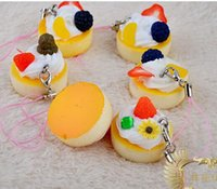 Wholesale 5 cm pu cupcake Round chocolate fruit phone charm yellow Squishies Cell Phone Straps