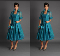 tea length mother of the bride dresses with sleeves - Plus Size Short Mother of The Bride Jacket Dresses With Long Sleeves Tea Length Groom Blue Green Suits Evening Gowns Cheap Organza