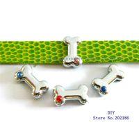 Wholesale Mutil color bone mm Slide Charms Fit Pet Dog Cat Tag Collar Wristband