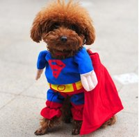 Wholesale Hot Sale Cute Superman Style Dog Clothes Halloween Fashion Costumes Puppy Jumpsuit Summer Autumn Cotton Pet Clothing