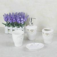 bathroom tumbler sets - Flower Round Ceramic Soap Dish Dispenser Tumbler Toothbrush Holder Bathroom Accessory Set XLD8008