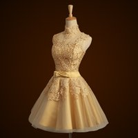 Wholesale Gold Lace Short th Grade Graduation Dress High Neck Knee Length Teens Homecoming Prom Dress Custom Made Fast Shipping