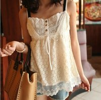 Wholesale 2015 Fashion Lace Cotton Camis Delicate Japanese Ladies Camisole Loose Mori Girl Summer Sweet Tanks Pure Vest Peasant Tops