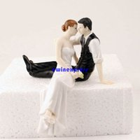 artificial table centerpieces - Romatic bride and groom wedding cake topper artificial Couple figurine Craft Wedding Cake toppers decoration wedding centerpieces props