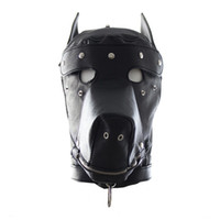 Cheap free shipping Faux Leather Dog Mask Sexy Latex Realistic Head Bondage Hood Adult Sex Dog Mask Black Fetish Erotic Sex Toys for Couples