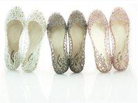venda por atacado sapatos melissa-chegam novas de cristal plana mulheres sapatas da geléia de melissa recortes sandálias chinelas 4 cores