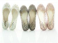 venda por atacado sapatos melissa-novo chegar plana de cristal de geléia de sapatos melissa mulheres cut-outs sandálias flip-flops 4 cores